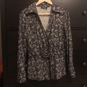 APT 9 Lace Look Cross Front Blouse - Size Large